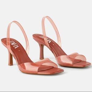 Zara high heel vinyl sandals, coral, sz 9